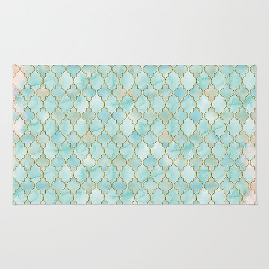 Chandra Stella Patterned Contemporary Wool Beige Aqua Area: Home Decor