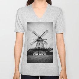Historic Dutch Fabyan Windmill Hollan Smock Mill Geneva Illinois Black and White Unisex V-Neck