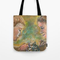 chess Tote Bags featuring Chess by Spinning Daydreams