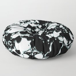 Black and White ink paint spill graphic mint green lines Floor Pillow