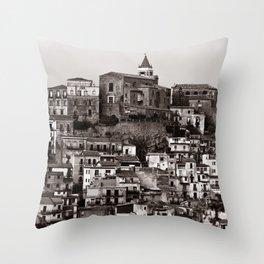 "Urban Landscape of Sicily ""VACANCY"" zine Throw Pillow"