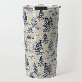 Alien Abduction Toile De Jouy Pattern in Blue Travel Mug