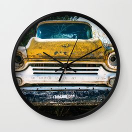 Old Yellow Chevry Apache Truck Wall Clock