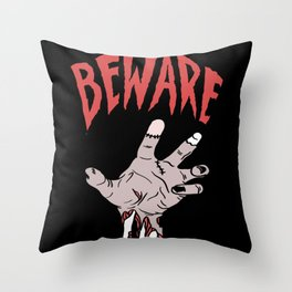 Attention Zombie Hand Halloween Horror Throw Pillow