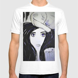 Girl with Black Hair and Hat. Blue Eyes Hand Painted by Jodi Tomer T-shirt