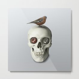 Skull & bird, watercolor Metal Print
