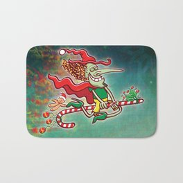 Halloween witch flying on a Christmas candy cane Bath Mat