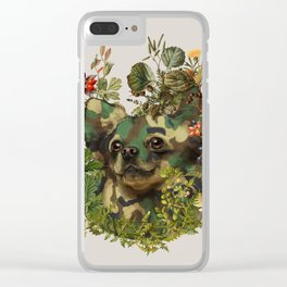 Camo Chihuahua Forest Adventure Clear iPhone Case