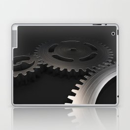 Set of metal gears and cogs on black Laptop & iPad Skin