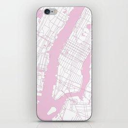 New York City White on Pink iPhone Skin