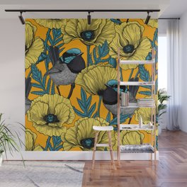 Fairy wren and poppies in yellow Wall Mural