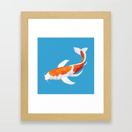 Geo Koi Orange & White Framed Art Print