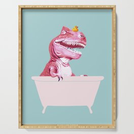 Pink T-Rex in Bathtub Serving Tray