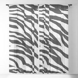 modern safari animal print black and white zebra stripes Sheer Curtain