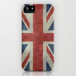 England's Union Jack flag of the United Kingdom - Vintage 1:2 scale version iPhone Case