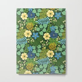 Tropical Blue and Yellow Floral Metal Print