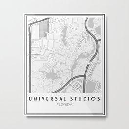 Minimalistic Universal Studios Florida Map Metal Print