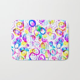 Sweet As Candy - colorful watercolor pattern by Lo Lah Studio Bath Mat
