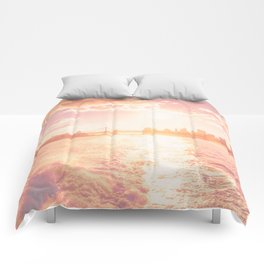New York City Skyline Sunset Comforters