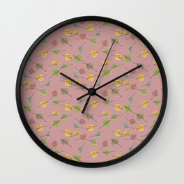 Colorado Aspen Tree Leaves Hand-painted Watercolors in Golden Autumn Shades on Copper Rose Wall Clock