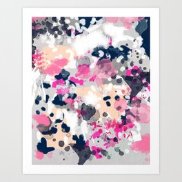 Nico - Abstract painting in modern fresh colors navy, mint, pink, cream, white, and gold Art Print