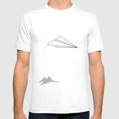 Paper Airplane Dreams White LARGE Mens Fitted Tee