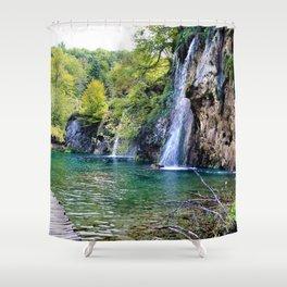 Waterfall in Croatia Large Shower Curtain