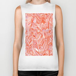 Abstract red coral lilac hand painted bohemian feathers pattern Biker Tank