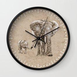Swirly Elephant Family Wall Clock