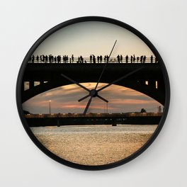 People at sunset Wall Clock