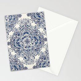 Floral Diamond Doodle in Dark Blue and Cream Stationery Cards