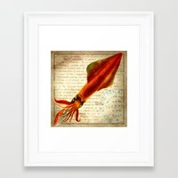 squid Framed Art Prints featuring Squid by NeverlandDream
