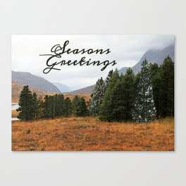 Christmas card of Highland trees with intruder. Canvas Print