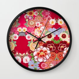 Red Floral Burst Wall Clock