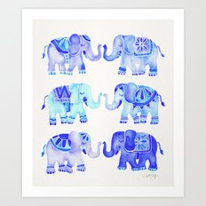 Elephants – Blue Palette Art Print