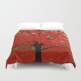 TREES RED Duvet Cover