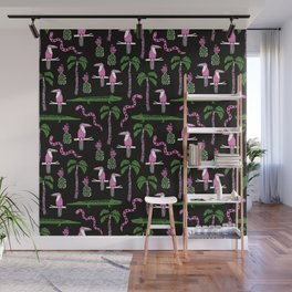 Tropical rainforest alligator palm trees toucan pattern by andrea lauren drawing illustration Wall Mural