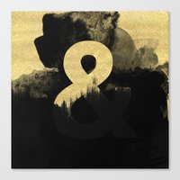 black and gold Canvas Prints featuring Black & Gold by Tamsin Lucie