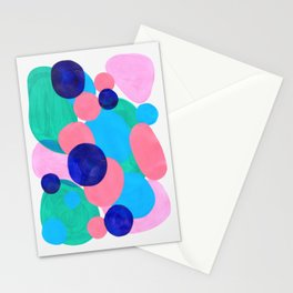 Mid Century Modern Minimalist Abstract Painting Pastel Pink Blue Teal Bubbles Cool Shapes Fun Patter Stationery Cards