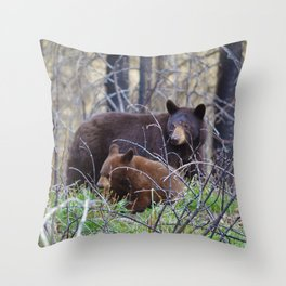 Sow & cub in Jasper National Park | Canada Throw Pillow
