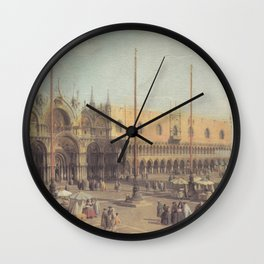 Piazza San Marco South East - Canaletto (Distressed Plaster Look) Wall Clock