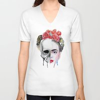 frida kahlo V-neck T-shirts featuring Frida Kahlo  by Karol Gallegos Carrera