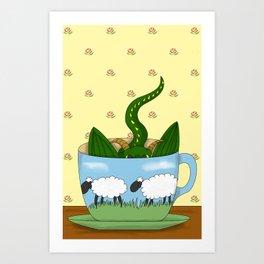 Dragon in a teacup Art Print