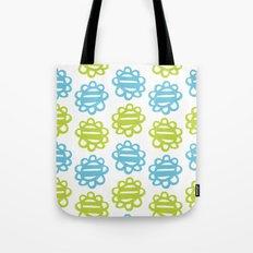 Fun Flowers blue green Tote Bag