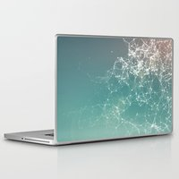 physics Laptop & iPad Skins featuring Fresh summer abstract background. Connecting dots, lens flare by AMULET