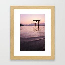 Torii gate of Itsukushima Shrine. Japan Framed Art Print
