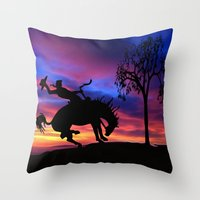 cowboy Throw Pillows featuring Cowboy by Laureenr