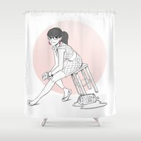 pinup Shower Curtains featuring Pinup III by biboun