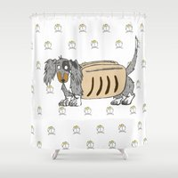 swag Shower Curtains featuring Dachshund Swag by Freak Ink Comics