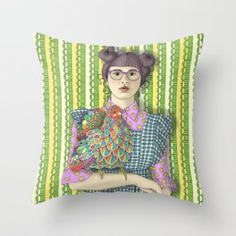 Girl with Dream Chicken Throw Pillow